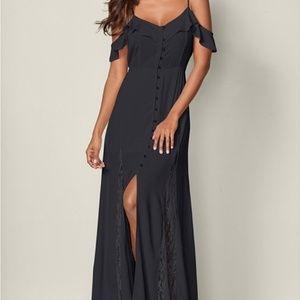 Venus Cold Shoulder Maxi Ruffle Dress Black Sz 1X